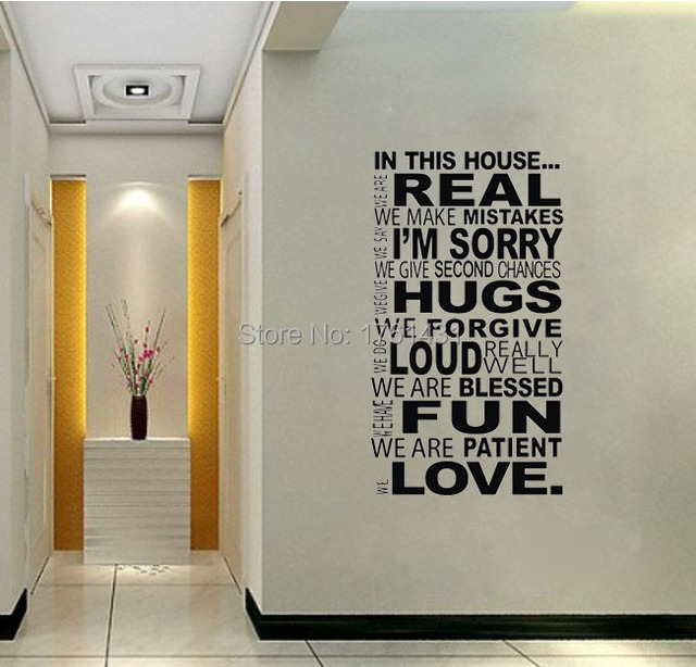 "Family Wall Quotes ""In This House"" Vinyl Wall Stickers Home Decor"