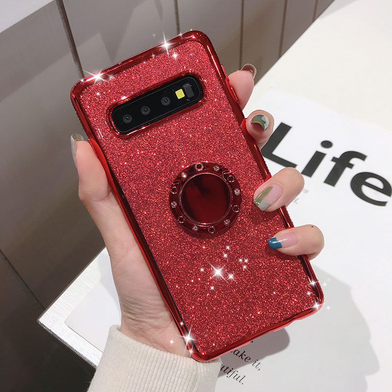 Rhinestone Diamond Bling Soft TPU Case Cover sFor Samsung S10e S10+ Note 9 A6 A8 A7 2018 A750 Slim Phone Capa With Rotating Ring (4)