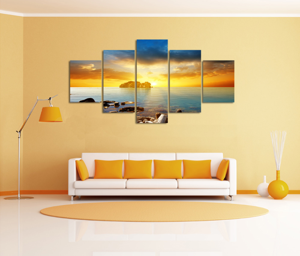 5 Panels Canvas Print Huge HD Sunset Seascape Sea Stones Wall Art ...