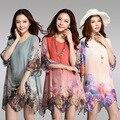 Новый 2017 женщины лето повседневный корейский boho цветы цветочный принт половина рукав большой большой размер XXL XXXL короткие beach tunic dress #091