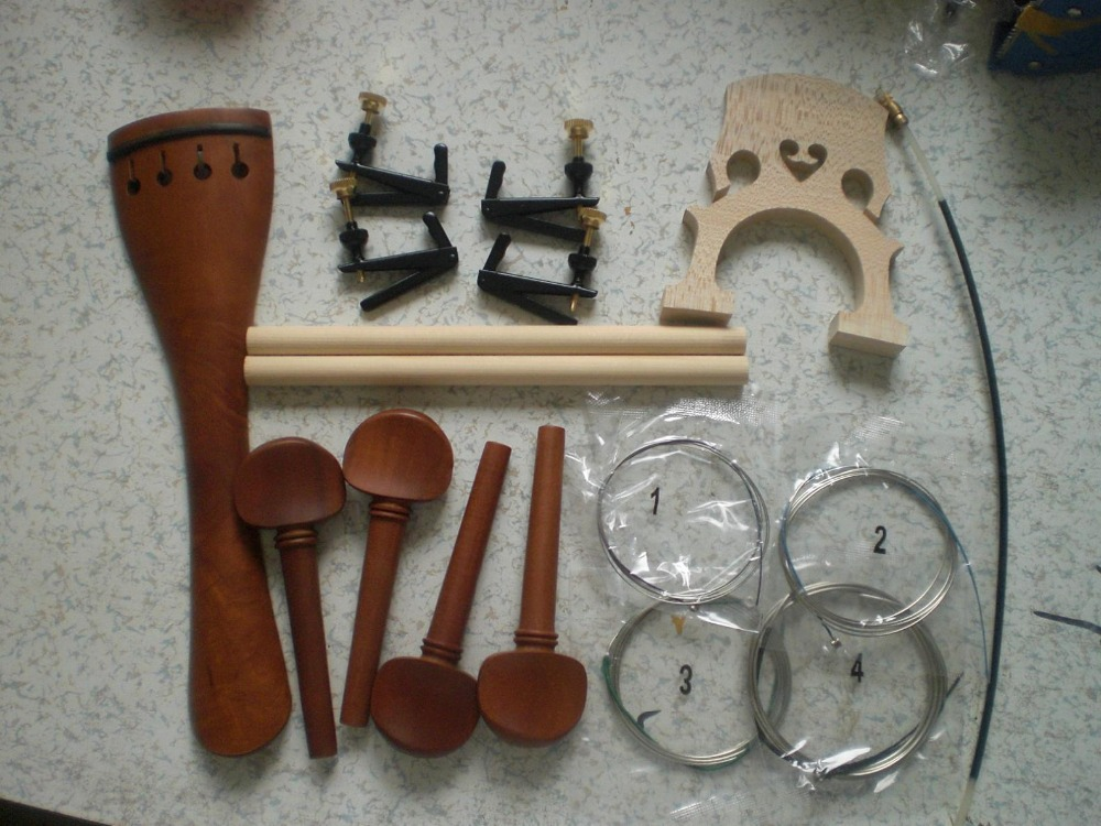 2 Set Cello Fitting 4/4(Jujube & Ebony) with Bridge cello tuner string tail guts sound post free shipping 4 4 size 430c pernambuco cello bow high quality ebony frog with shield pattern white hair violin parts accessories