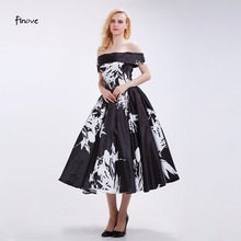 Finove Black Pattern Vintage Evening Dresses A-Line 2016 New Boat Neck Off the Shoulder Elegant Tea-Length Party Gowns