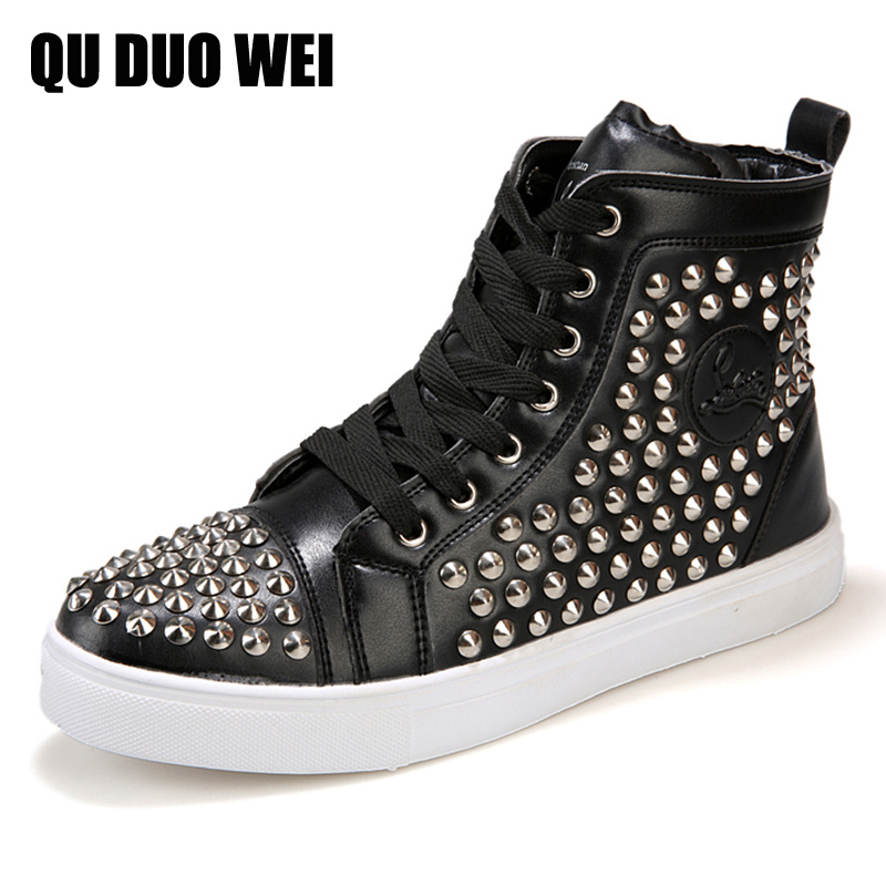 ФОТО 2017 Boots Punk Style Street Dance Spike Studded Men Ankle Boots For Men High-Top Rock Fashion Rivet White Shoes