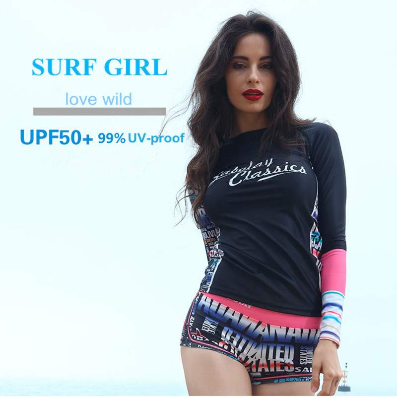 5ccb04931ae07 Rash Guard long sleeve swimsuit surf swimwear women sport girl swim shirt  surf shorts 2 piece bathing suit bodysuit VY007 -in Surfing   Beach Shorts  from ...