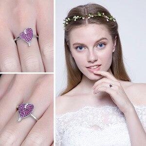 Image 4 - JewelryPalace kalp 0.3ct oluşturulan yakut taşlı yüzük 925 ayar gümüş kalp aşk nişan yüzüğü yeni varış özel kadınlar için