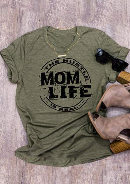 2018 Fashion Women Camiseta The Hustle Mom Life Is Real Camiseta Army - Ropa de mujer