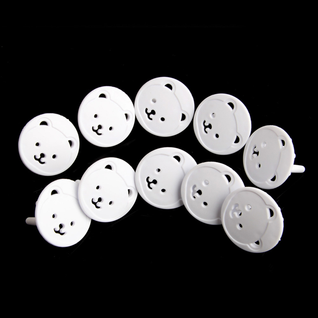 10pcs Bear EU Power Socket Electrical Outlet Baby Kids Child Safety Guard Protection Anti Electric Shock Plugs Protector Cover 3