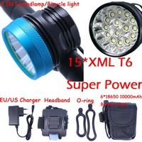 15T6 Powerful LED Headlamp Headlight light lamps 18000 Lumens 15 x XM L T6 with 8.4V battery Pack charger