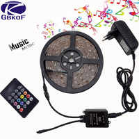 Music LED Strip 5M SMD2835/5050 Waterproof/IP20 RGB Strips LED Strip Light+Music Sound Sensor IR Controller 20keys+DC12V Adapter
