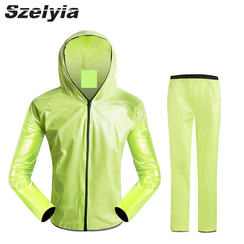 Szeylia Quick dry cycling rain coat jacket sets waterproof bicycle cascos MTB mountain bike rain jersey cycling clothing pants santic men s cycling hooded jerseys rainproof waterproof bicycle bike rain coat raincoat with removable hat for outdoor riding