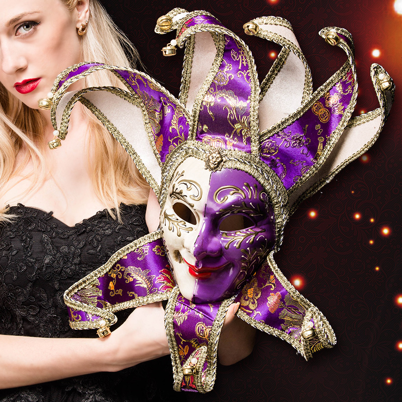 Máscara de veneza Jester Alegre para o Traje Do Partido Do Disfarce de Carnaval Dionísia Halloween Natal Clássico Italia Máscara Completa Rosto PVC