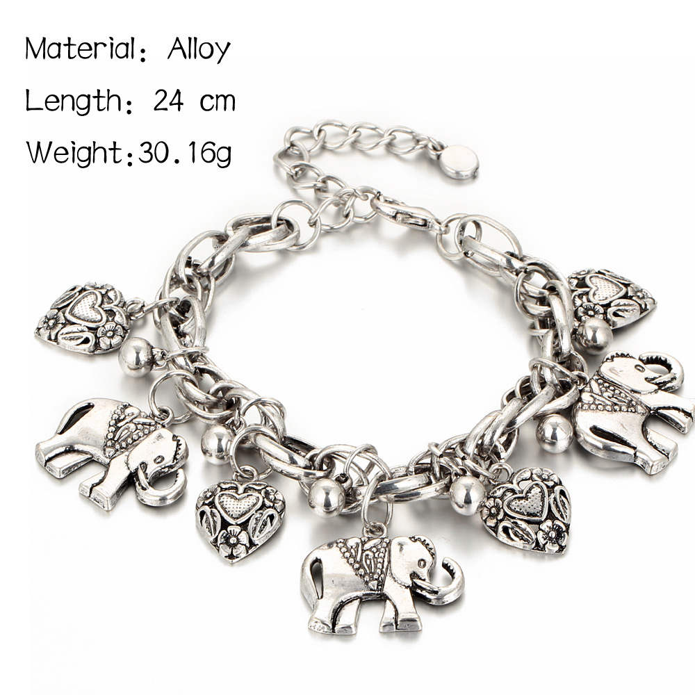 Vintage Gold Silver Anklets for Women Elephant Pendant Charms Box Chain Beach Summer Foot Ankle Bracelet Wholesale Jewelry in Anklets from Jewelry Accessories