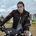 2017 Nuevos Hombres de Color Marrón Oscuro de Cuero Genuino Chaqueta de La Motocicleta Soporte cuello de piel de Vaca Real Plus XXXL Slim Fit Abrigo Biker ENVÍO GRATIS