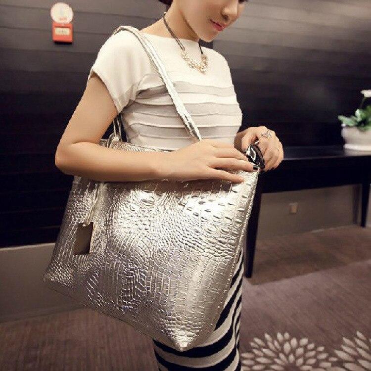 Delle Spalla Grande Progettista Coccodrillo gold silver Tote Donne A Causale Del Pelle Modo Di 2019 Capacità Shopping Lusso Nappa Borse In Bag Black Borsa 5qOt78
