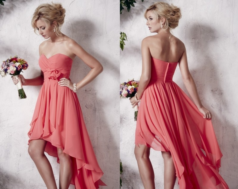 Envío Gratis Flor Del Amor de Color Coral Vestidos de Dama de Alto ...