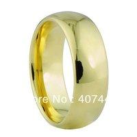رخيصة الأسعار ترقية! شحن مجاني! usa المبيعات الساخنة جديد ذهبي اللون 8 ملليمتر الرجال كربيد التنجستن زفاف باند خاتم الذهب أفضل هدية
