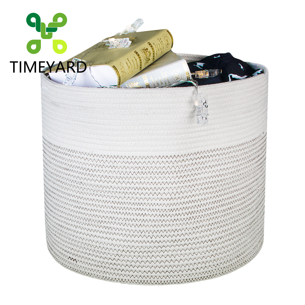 TIMETARD Cotton Rope Storage Basket High Quality Multipurpose Dirty Clothes Laundry Basket Cleanable Toy Storage Basket 44x38cm