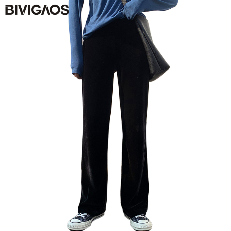 BIVIGAOS 2019 Spring Fashion Pleuche Straight Pants Wid Leg Pants Black Velour High Waist Loose Pants Drooping Trousers Women