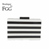 White Black Women Striped Evening Party Box Clutch Bag Hard Case Day Clutches Purse Wedding Bridal