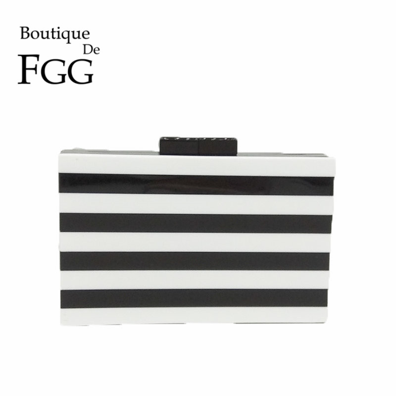 White & Black Women Striped Evening Party Box Clutch Bag Hard Case Day Clutches Purse Wedding Bridal Shoulder Crossbody Handbag jacques lemans jl 1 1775d