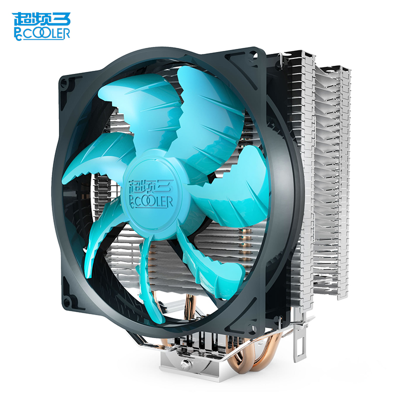 PcCooler X2 CPU cooler 2 heatpipe 4pin 12cm PWM quiet fan for AMD for Intel 775 1150 1151 1155 1156 cooling radiator fan computer cooler radiator with heatsink heatpipe cooling fan for hd6970 hd6950 grahics card vga cooler