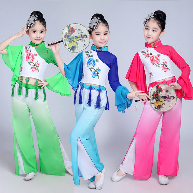 bdaafac35f74 Kids Ancient Traditional Chinese Folk Dance Tops+Pants Children ...