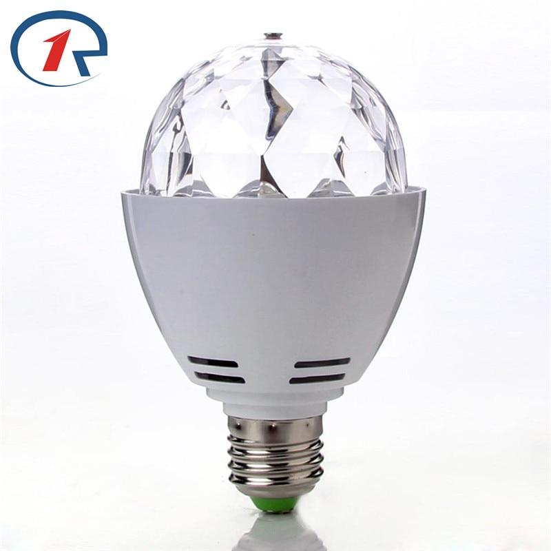 ZjRight E27 LED-ljus Utbytbar färgglad 3W RGB Crystal roterande glödlampa Christmas Party Stage dj Light födelsedag dekor ljus