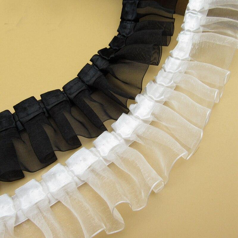 50 ヤードブラックホワイトフリルひだ折るレーストリムリボン Diy 衣服スカート袖口裾レースアクセサリープリーツレース生地  グループ上の ホーム&ガーデン からの レース の中 1