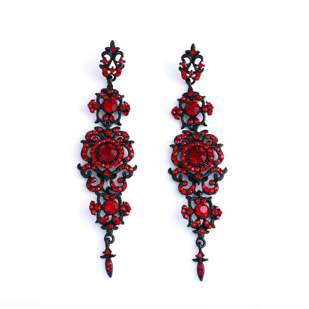 Флола винтажные черные серьги с камнями длинные висячие серьги готические модные ювелирные серьги для женщин ersk02