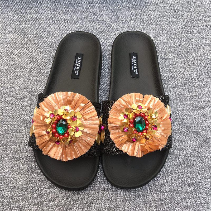 shaduo мода женщин высокое качество летний стиль цветочные балетки тапочки,для женщин роскошные высокое качество цветок балетки летняя обувь тапочки