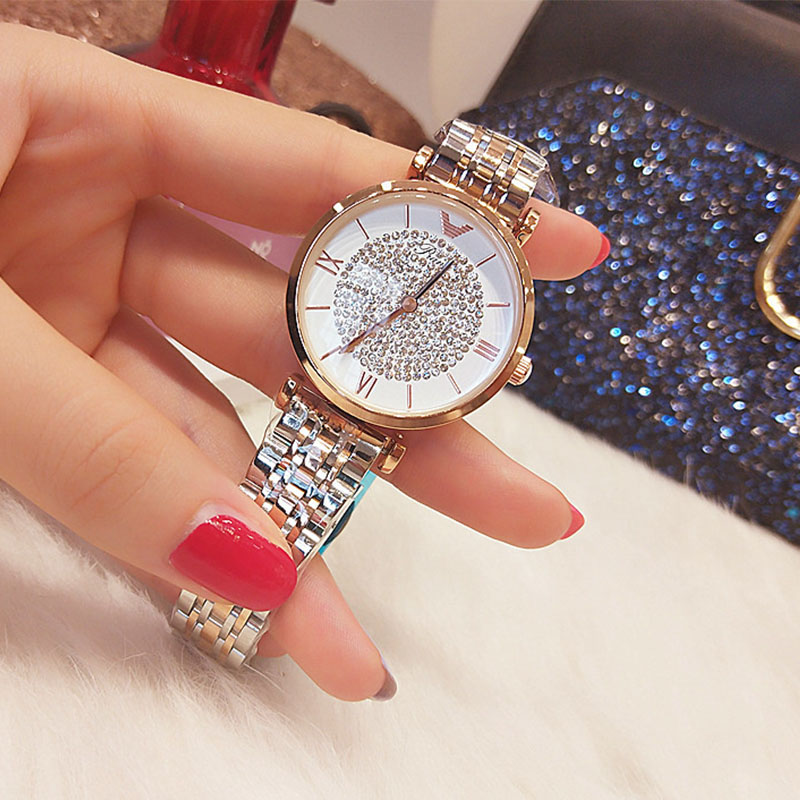 2019 Woman Watches Luxury Brand Women Crystal Bling Ladies Wrist Watches Fashion Steel Clock Watches For