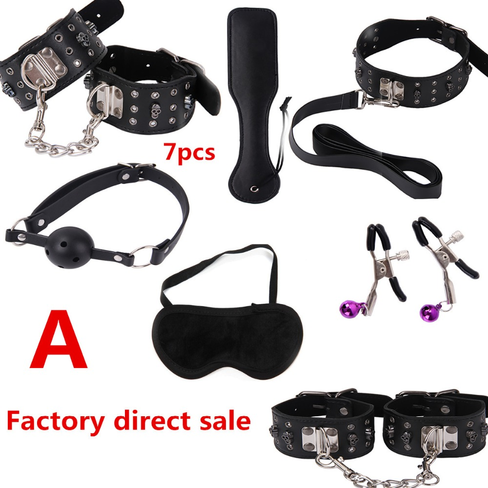 Sex toy set Sm products Sex Bondage Woman Slave Restraint Adult Sex Toys for Couples Handcuffs Nipple Clamps Whip Erotic Toys цена