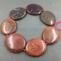 MY1249 Large Dragon Veins Agates Brown Pink Variegated Thick Flat Oval Slice Slab Beads Pendant Necklace