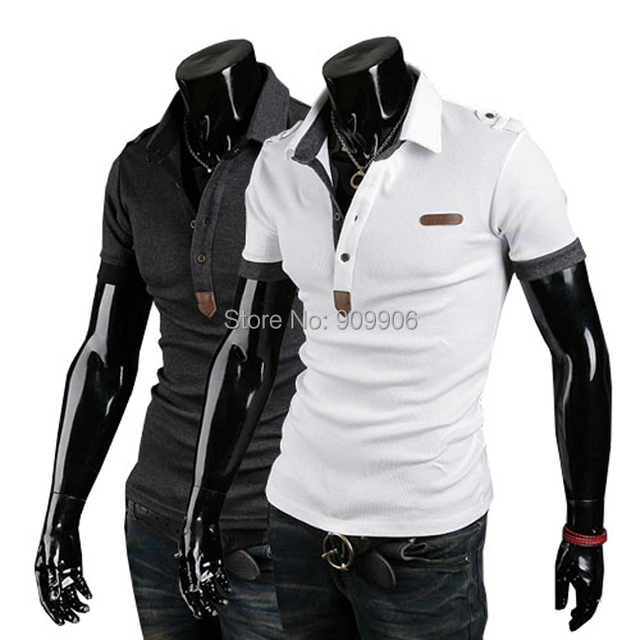 Mens Summer Casual Slim Fit British Leather Logo Embroidery Polo