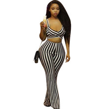 Sexy Bandage Striped Jumpsuit Women Spaghetti Strap V-neck Sleeveless Hollow Out Wide Leg Jumpsuit Rompers Night Club Overalls