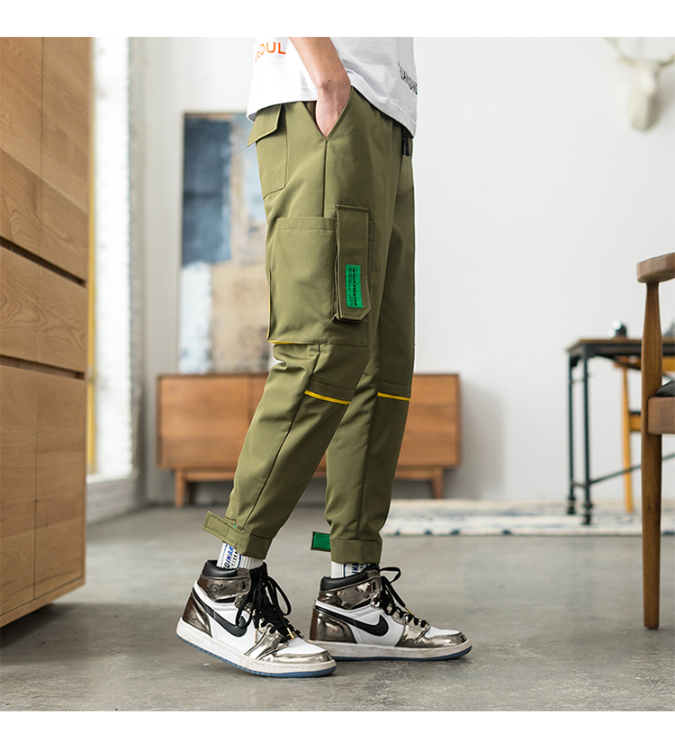Latest Collection Of Only Discount Today Cargo Pants For Men Black Japanese Style Fashion High Street Stripe Pocket Homme Cargo Pants Zipper Elastic Cargo Pants
