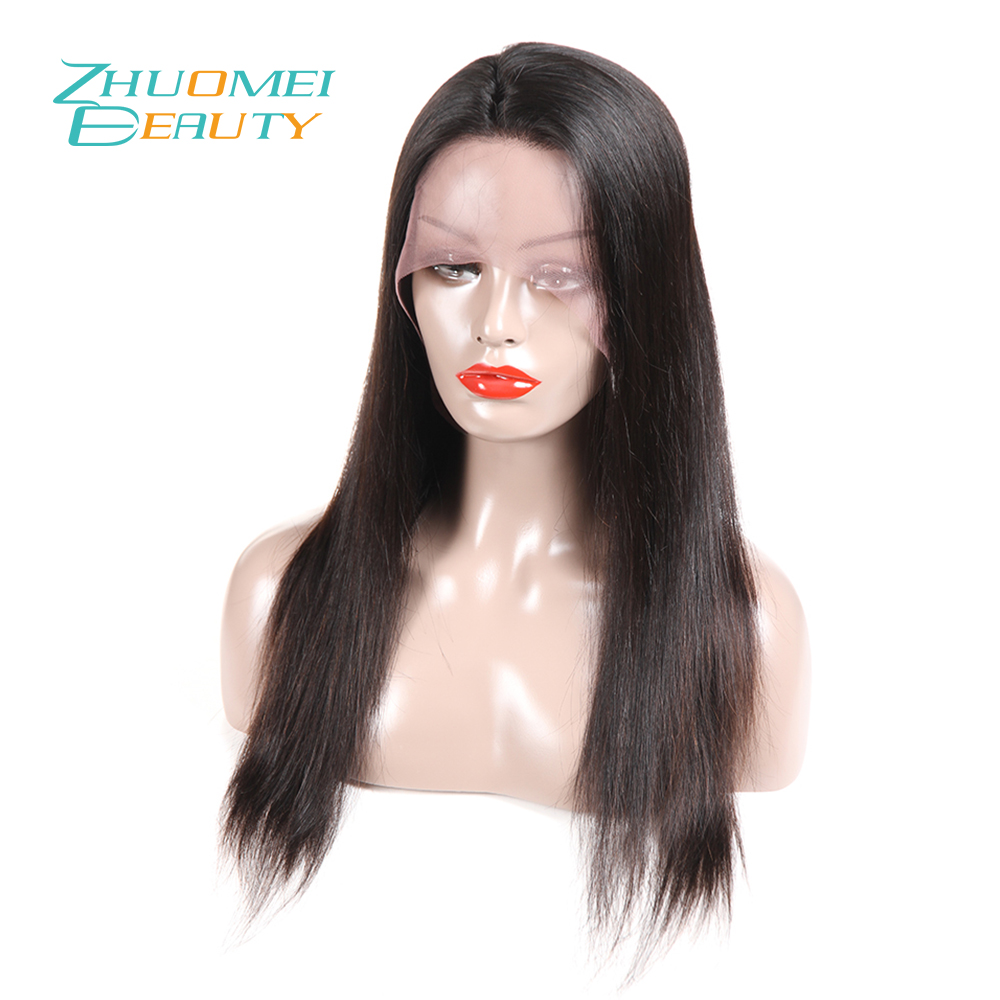 Zhuomei BEAUTY Remy Hair 130% Density 360 Lace Frontal Wig Pre Plucked With Baby Hair Straight Hair Peruvian Lace Frontal Wigs