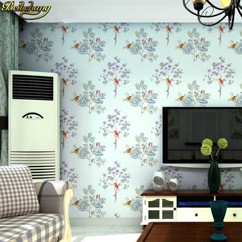 beibehang Pastoral flowers and birds wall paper children princess room girl bedroom warm non-woven wallpaper papel de parede pastoral flowers and birds wallpaper for bedroom living room tv background wall paper retro floral non woven photo wallpaper 3d