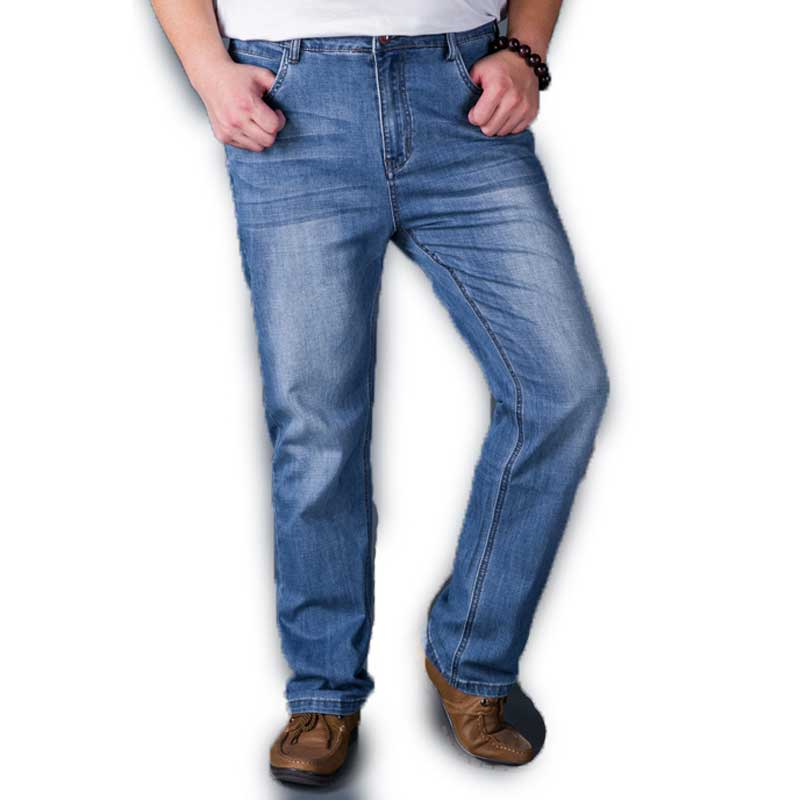 Regular Mens Plus Size Jeans Thin Denim Blue Spring Summer Wear for Men 30 48