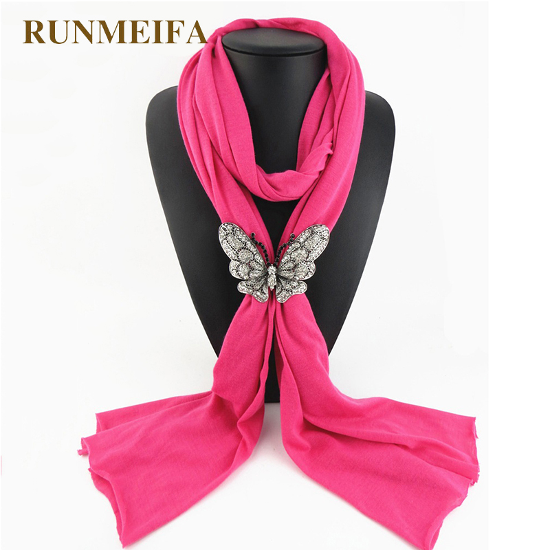 2018 New Fashion Butterfly Pendant Jewelry Scarf For Women 2018 Autumn Winter Tassel Scarf Necklace Bufandas Gifts Free Shipping