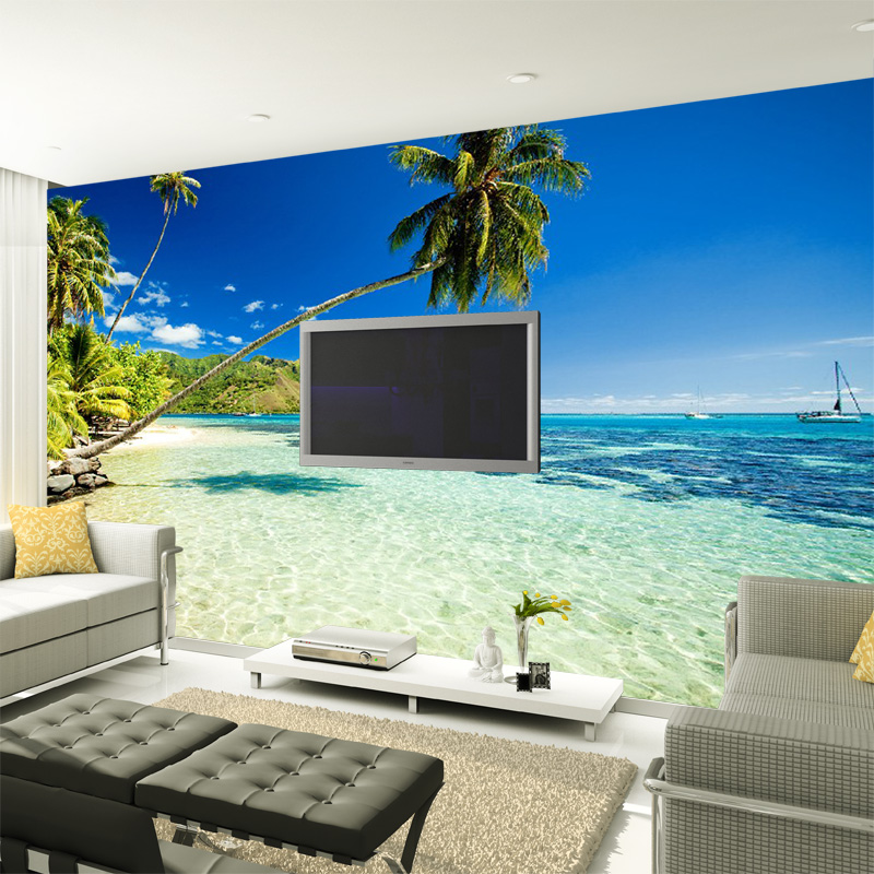 3D stereoscopic large mural custom wall paper the living room TV backdrop bedroom fabric wallpaper TV wall painting palm beach 3d stereoscopic large mural custom wallpaper the living room backdrop bedroom fabric wall paper murals fashion romantic roses
