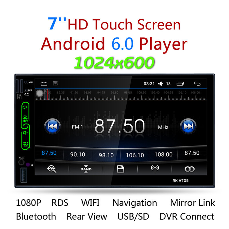 RK A705 7 FHD Capacitive Touch Screen 2 din android 6.0 Car Radio Media MP5 Player Built in Wifi GPS with rear view camera