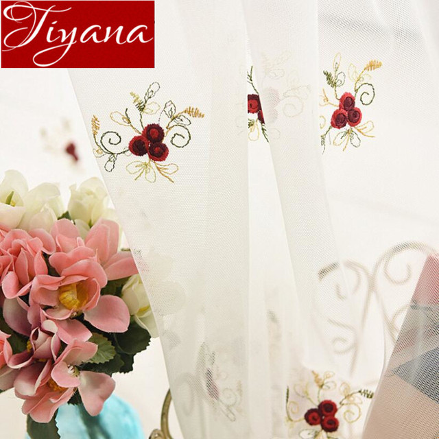 Rose Curtains Net White Embroidered Voile Kids Girl Room Window Modern  Living Room Curtian Tulle Sheer Fabric Cortinas Tu0026273 #30