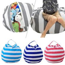 Large Capacity Cosmetic Bag Thickened Stuffed Plush Toy Storage Bean Stripe Package Tote Bags