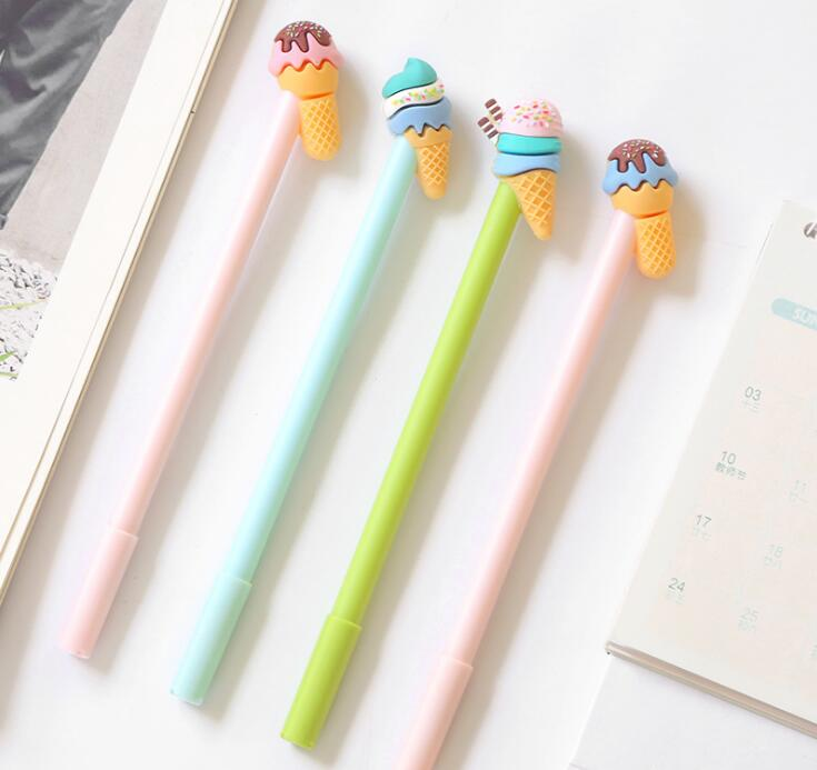 2 pcs/lot Sweet Ice Cream Gel Ink Pen Promotional Gift Stationery School & Office Supply Birthday Gift 6 pcs lot candy color highlighters gel pen promotional gift stationery school