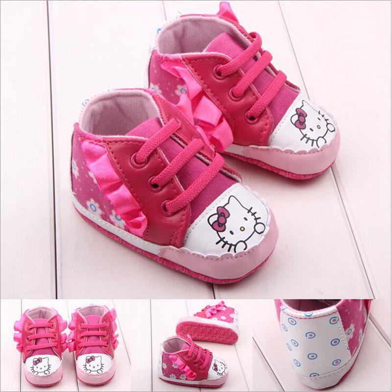 New Cartoon Hello Kitty Baby First Walkers Shoes Soft Soled Infant Toddler Girl Shoes Anti slip
