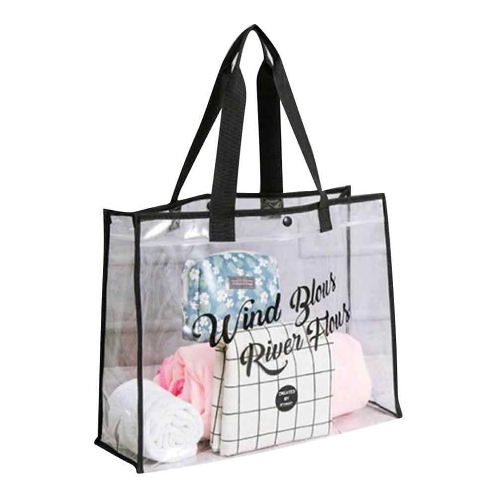 Transparant PVC Gift Tote Packaging Bags With Handle Clear Plastic Clothing wind packing bag Wind Blows River Flows Swimming 5lp