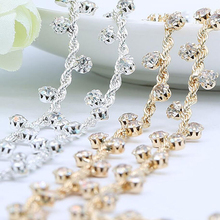 1Yard Clear Glass Sewing Rhinestone Chain Trim Rhinestones Silver Gold Applique Strass Crystal Appliques Band For Dress Shoes