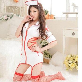 1a8ddb6e700e Sexy Lencería enfermera uniforme tentación juego Cosplay juego de rol  enfermera traviesa disfraz Sexy traje adulto Cosplay Mujer