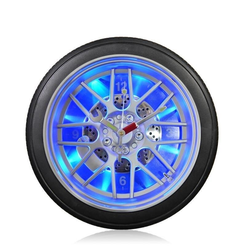 Creative Car Tire Led Lights Wall Clock 10-inch Round Plastic Ornaments Household Quartz Wall Clock Bar Theme Hanging Clock